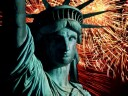 statue of liberty and fireworks